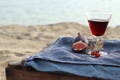 Σύκα και κόκκινο κρασί Στοκ Εικόνες