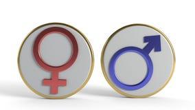 Σύμβολα ανδρών και γυναικών του υποβάθρου, τρισδιάστατη απόδοση στοκ εικόνες με δικαίωμα ελεύθερης χρήσης