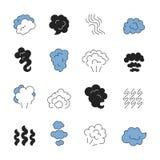 Σύμβολα γραμμών ατμού Μυρωδιά του διανυσματικού συνόλου εικονιδίων περιλήψεων καπνού ατμού τροφίμων μαγειρέματος διανυσματική απεικόνιση