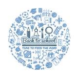 Σύμβολα επιστήμης στη μορφή κύκλων Διάφορο υπόβαθρο κινούμενων σχεδίων με τις εικόνες του σχολείου απεικόνιση αποθεμάτων