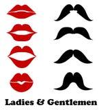 Σύμβολα λουτρών κυριών και κυρίων Διανυσματικά χείλια αποθεμάτων και mou διανυσματική απεικόνιση