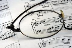 σύμβολα μουσικής γυαλ&iot Στοκ φωτογραφία με δικαίωμα ελεύθερης χρήσης