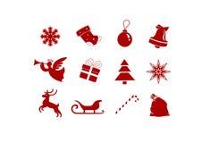 Σύμβολα Χριστουγέννων: κουδούνι, έλκηθρο, αστέρι, δώρο - απομονωμένες εικόνες απεικόνιση αποθεμάτων