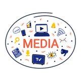 Σύμβολα MEDIA σε έναν κύκλο Συρμένη χέρι απεικόνιση στο διάνυσμα απεικόνιση αποθεμάτων