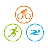 Σύμβολα Triathlon καθορισμένα απεικόνιση αποθεμάτων