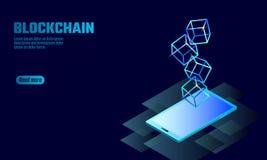 Σύμβολο αλυσίδων κύβων Blockchain στην οθόνη συσκευών smartphone Μπλε σύγχρονη τάση πυράκτωσης νέου Χρηματοδότηση Cryptocurrency  διανυσματική απεικόνιση