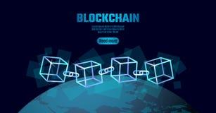 Σύμβολο αλυσίδων κύβων Blockchain στις τετραγωνικές πληροφορίες ροής στοιχείων κώδικα μεγάλες Μπλε σφαίρα πλανήτη Γη νέου καμμένο ελεύθερη απεικόνιση δικαιώματος