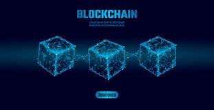 Σύμβολο αλυσίδων κύβων Blockchain στις τετραγωνικές πληροφορίες ροής στοιχείων κώδικα μεγάλες Μπλε σύγχρονη τάση πυράκτωσης νέου  απεικόνιση αποθεμάτων