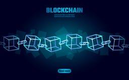 Σύμβολο αλυσίδων κύβων Blockchain στις τετραγωνικές πληροφορίες ροής στοιχείων κώδικα μεγάλες Μπλε σύγχρονη τάση πυράκτωσης νέου  ελεύθερη απεικόνιση δικαιώματος