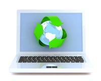 σύμβολο ανακύκλωσης lap-top Διανυσματική απεικόνιση