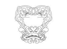 Σύμβολο βαλεντίνων αγάπης με τις διακοσμήσεις Στοκ Εικόνα