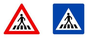 Σύμβολο για τους πεζούς περάσματος, προειδοποιώντας κόκκινο τρίγωνο και μπλε τετραγωνική έκδοση πληροφοριών ελεύθερη απεικόνιση δικαιώματος