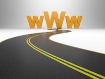 Σύμβολο Διαδικτύου www και ένας μακρύς δρόμος διανυσματική απεικόνιση
