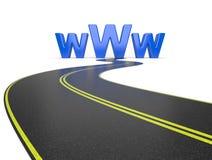 Σύμβολο Διαδικτύου www και ένας μακρύς δρόμος ελεύθερη απεικόνιση δικαιώματος