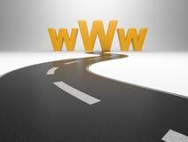Σύμβολο Διαδικτύου www και ένας μακρύς δρόμος απεικόνιση αποθεμάτων