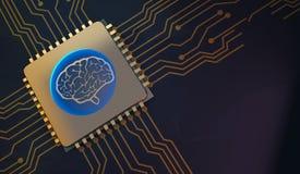 Σύμβολο εγκεφάλου εκμάθησης μηχανών στην τρισδιάστατη απόδοση πινάκων κυκλωμάτων ελεύθερη απεικόνιση δικαιώματος