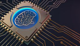 Σύμβολο εγκεφάλου εκμάθησης μηχανών στην τρισδιάστατη απόδοση πινάκων κυκλωμάτων Στοκ φωτογραφίες με δικαίωμα ελεύθερης χρήσης