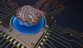 Σύμβολο εγκεφάλου εκμάθησης μηχανών στην τρισδιάστατη απόδοση πινάκων κυκλωμάτων Στοκ εικόνα με δικαίωμα ελεύθερης χρήσης