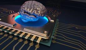 Σύμβολο εγκεφάλου εκμάθησης μηχανών στην τρισδιάστατη απόδοση πινάκων κυκλωμάτων Στοκ Εικόνα