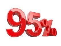 Σύμβολο ενενήντα πέντε κόκκινο τοις εκατό ποσοστό ποσοστού 95% Ειδικός μακριά Στοκ Εικόνες