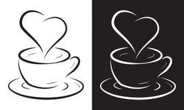 σύμβολο καρδιών φλυτζανιών καφέ Στοκ Εικόνες