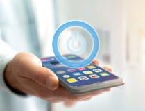 Σύμβολο κουμπιών δύναμης που επιδεικνύεται σε μια φουτουριστική διεπαφή - Techno Στοκ φωτογραφίες με δικαίωμα ελεύθερης χρήσης