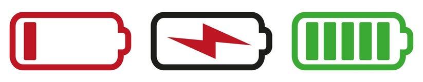 Σύμβολο μπαταριών που τίθεται με τα κράτη κενά, φορτίζοντας και που φορτίζεται εντελώς απεικόνιση αποθεμάτων