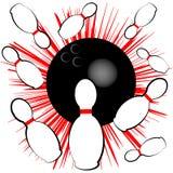 Σύμβολο μπόουλινγκ που απομονώνεται στο άσπρο υπόβαθρο επίσης corel σύρετε το διάνυσμα απεικόνισης Στοκ Εικόνες