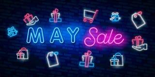 Σύμβολο νέου για το Μάιο: Όνομα μήνα με τα ζωηρόχρωμα στοιχεία: Διανυσματική απεικόνιση Καμμένος σημάδι νέου, φωτεινή διαφήμιση π διανυσματική απεικόνιση