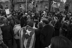 Σύμβολο σημαιών ανεξαρτησίας της επίδειξης στη Βαρκελώνη Στοκ Φωτογραφίες