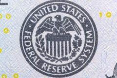 Σύμβολο συστημάτων Ηνωμένης Κεντρικής Τράπεζας των ΗΠΑ, λογότυπο αετών - υπερβολικός μακρο στενός επάνω στοκ φωτογραφία με δικαίωμα ελεύθερης χρήσης