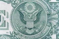 Σύμβολο συστημάτων Ηνωμένης Κεντρικής Τράπεζας των ΗΠΑ, λογότυπο αετών - υπερβολικός μακρο στενός επάνω στοκ φωτογραφίες