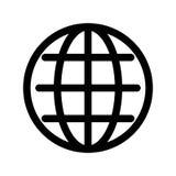 Σύμβολο σφαιρών Πλανήτης Γη ή σημάδι μηχανών αναζήτησης Διαδικτύου Στοιχείο σύγχρονου σχεδίου περιλήψεων Απλό μαύρο επίπεδο διανυ διανυσματική απεικόνιση