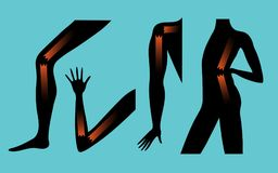 Σύμβολο της ασθένειας και των προβλημάτων στις ενώσεις του βραχίονα, του ποδιού, του πίσω μέρους της σπονδυλικής στήλης και του ώ Στοκ Εικόνες