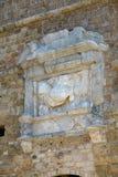 Σύμβολο της Βενετίας στην είσοδο του φρουρίου Koules στην Κρήτη στοκ φωτογραφίες