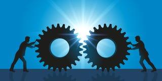 Σύμβολο της συνδιαλλαγής και της συνεργασίας μεταξύ δύο επιχειρήσεων διανυσματική απεικόνιση