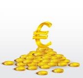 Σύμβολο του χρυσού ευρώ με τα νομίσματα Στοκ Εικόνες