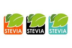 Σύμβολο του stevia ή της γλυκιάς χλόης με τις ζωηρόχρωμες ετικέτες ελεύθερη απεικόνιση δικαιώματος