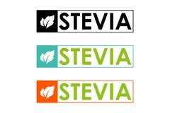 Σύμβολο του stevia ή της γλυκιάς χλόης στο ζωηρόχρωμο πλαίσιο με τα βοτανικά φύλλα απεικόνιση αποθεμάτων