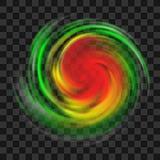 Σύμβολο τυφώνα με την ένδειξη έντασης στο σκοτεινό διαφανές υπόβαθρο διανυσματική απεικόνιση