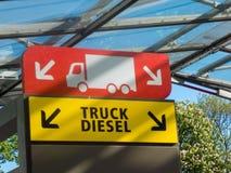 Σύμβολο των καυσίμων diesel φορτηγών σε ένα πρατήριο καυσίμων Στοκ Φωτογραφία