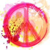 Σύμβολο χίπηδων ειρήνης πέρα από το ζωηρόχρωμο υπόβαθρο Ελευθερία, πνευματικότητα, αποκρυφισμός, τέχνη κλωστοϋφαντουργικών προϊόν ελεύθερη απεικόνιση δικαιώματος