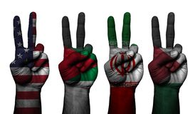 Σύμβολο 4 χεριών ειρήνης χώρες στοκ εικόνα