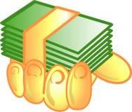 σύμβολο χρημάτων εικονιδίων χεριών Στοκ Φωτογραφίες