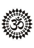 Σύμβολο Aum στο φωτοστέφανο mandala πνευματικό σύμβολο ανασκόπηση που σύρει το floral διάνυσμα χλόης Στοκ Εικόνες
