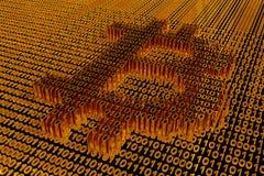 Σύμβολο Bitcoin που επιλέγεται στα πλαίσια ενός δυαδικού κώδικα του χρυσού Στοκ εικόνα με δικαίωμα ελεύθερης χρήσης