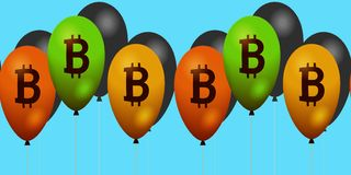Σύμβολο Bitcoin στο οριζόντιο έμβλημα Στοκ Εικόνα