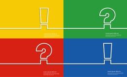 Σύμβολα βοήθειας, ερωτηματικό και σημάδι θαυμαστικών διανυσματική απεικόνιση