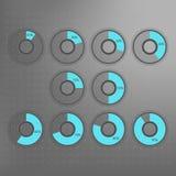 10 20 25 30 40 50 60 70 80 σύμβολα διαγραμμάτων πιτών 90 τοις εκατό Διανυσματικό infographics ποσοστού Διαγράμματα κύκλων που απο Στοκ Φωτογραφία