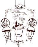Σύμβολα καφέδων - πίνακας και καρέκλες, καφετιέρα με τα φλυτζάνια Στοκ εικόνα με δικαίωμα ελεύθερης χρήσης